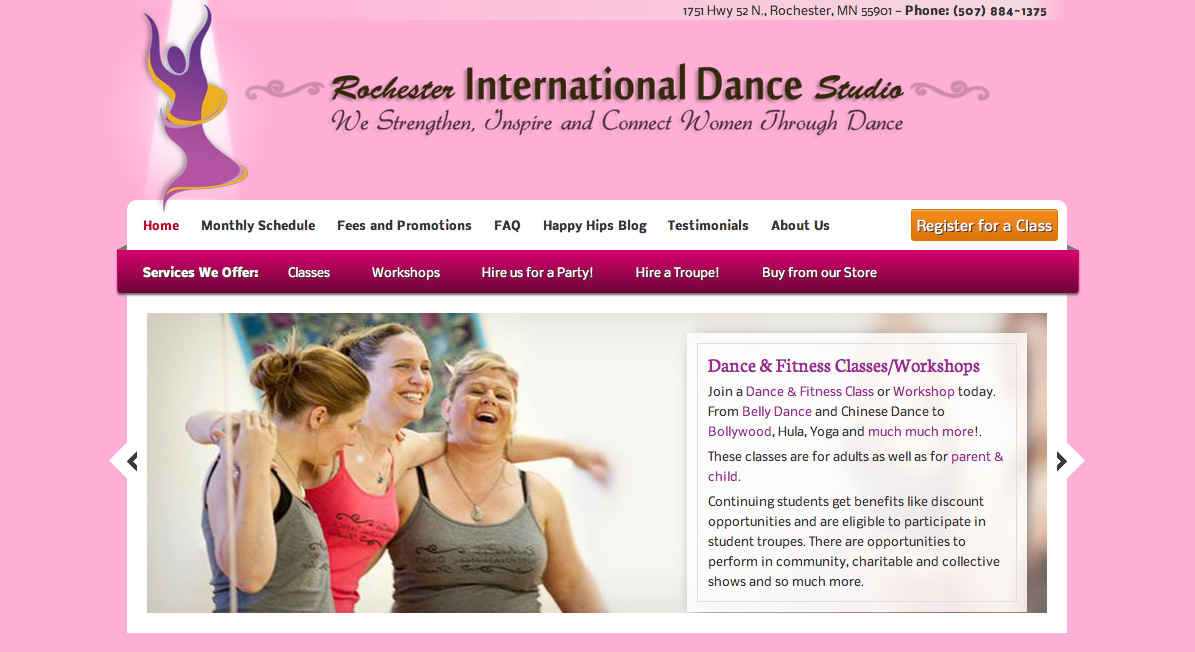 Rochester Internation Dance Header Screenshot