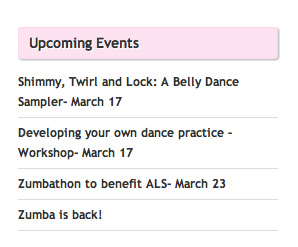 Rochester Internation Dance Sidebar Upcoming Events Screenshot