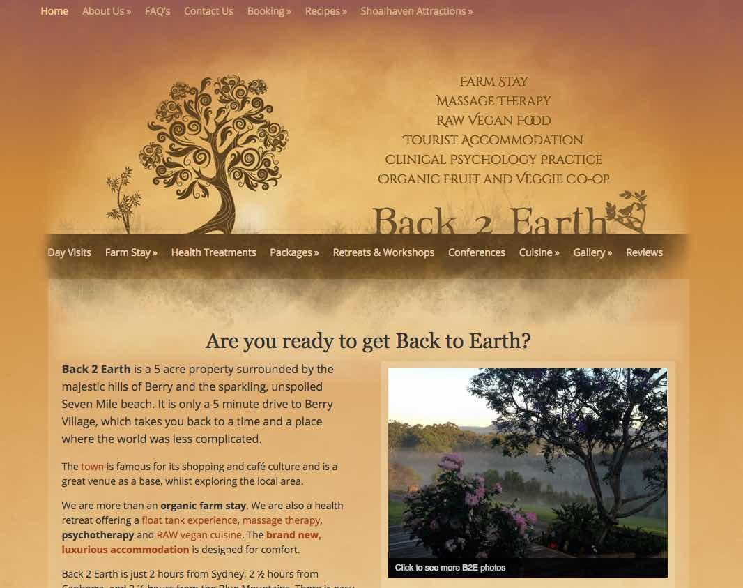 Back 2 Earth Website