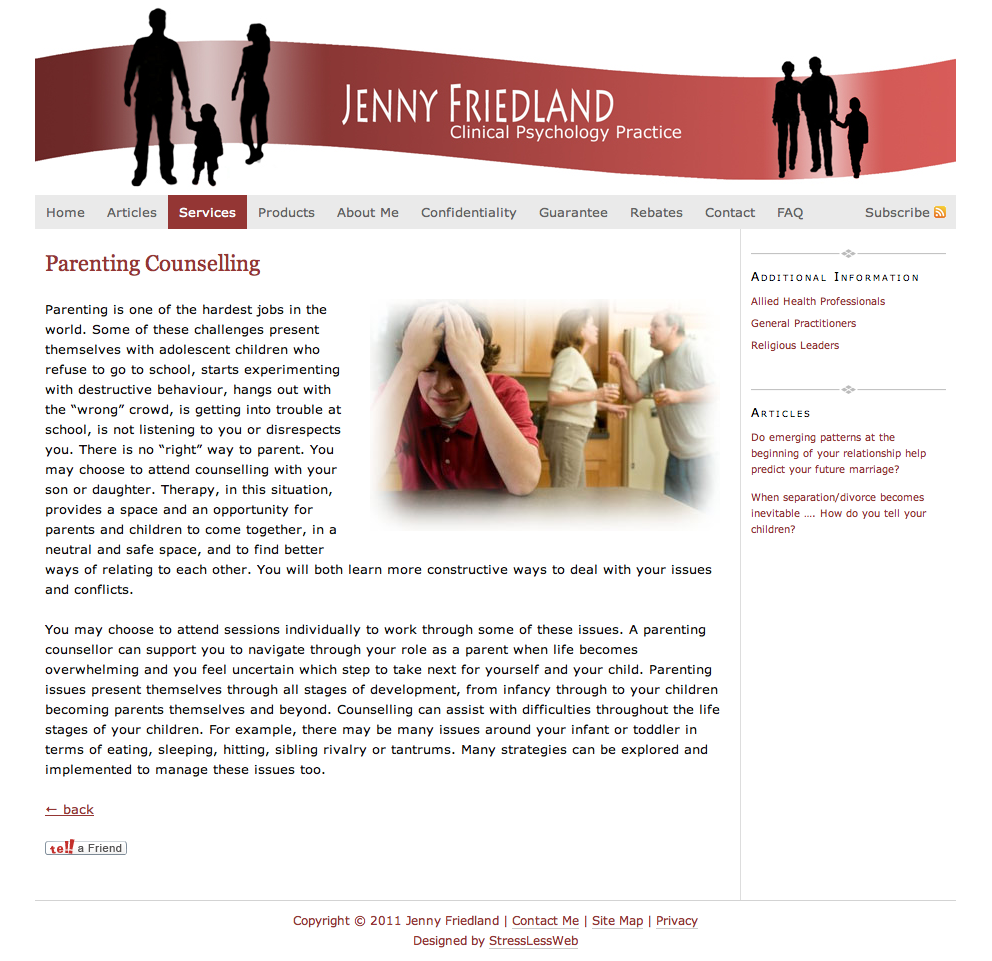 JFP: Services - Parenting Counselling Page for Jenny Friedlands Small Business Website