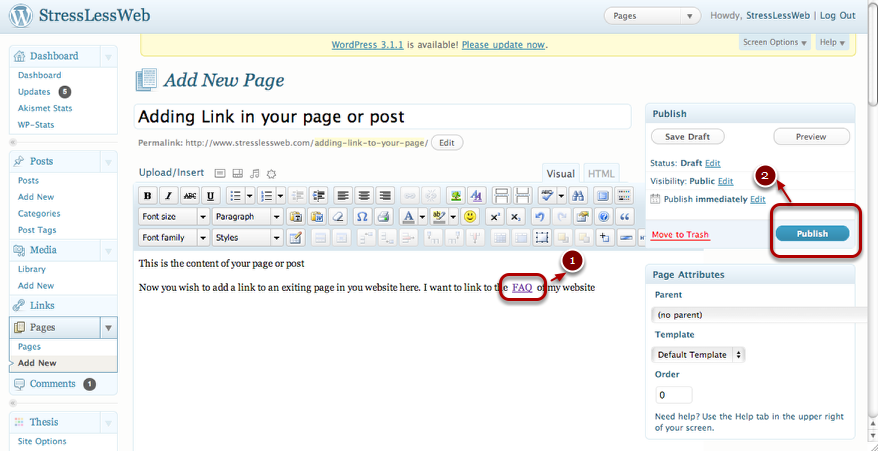 Insert a link in WordPress and Publish
