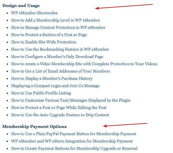WP eMember plugin documentation