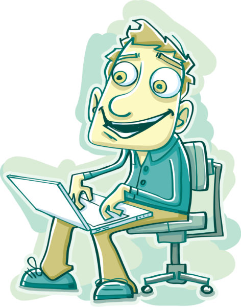 Illustration of a Happy Computer User